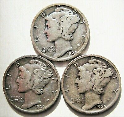 1929 PDS  Set of three Mercury Dimes circulated 90% Silver  Very Good  to Fine