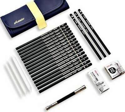 Set Sketch Professional Pencil Drawing Art Pencils Kit Artist Sketching Supplies