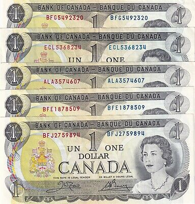 Lot of 5 1973 Canadian Bank Notes!UNC MINT CONDITION!
