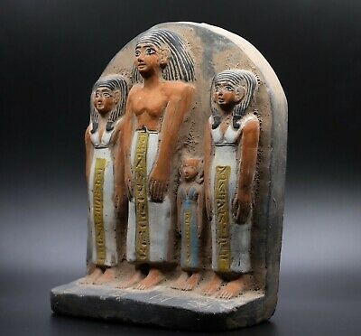 EGYPTIAN STATUE ANTIQUE FAMILY Group Sculpture STELA RELIEF EGYPT STONE BC