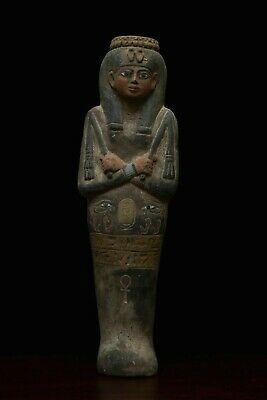 EGYPT EGYPTIAN STATUE Antique QUEEN NEFERTARI Hieroglyphs SHABTI Carved STONE BC