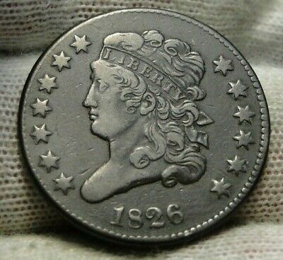 1826 Classic Head Half Cent - C2 R-3, Key Date, Only 234,000 Minted (9373)