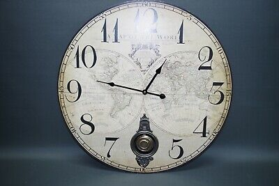 Large Wall Clock 59 cm Nostalgic Antique Style Old World Map Globe with Pendulum