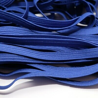 One Metre Of Soft, Stretchy, Flat Elastic, Cobalt Blue Colour, 6 Mm Wide