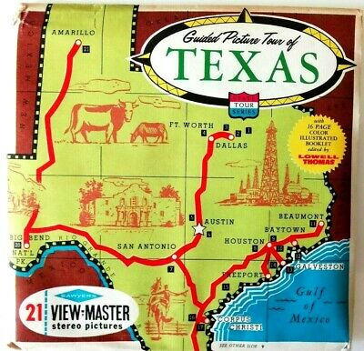 3x VIEW MASTER REEL ⭐️ GRAND PICTURE TOUR of TEXAS ⭐ USA / 3D BILD-SCHEIBEN A410