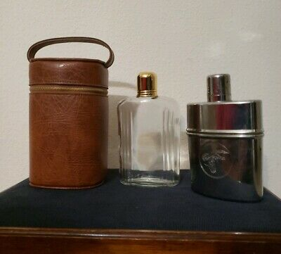 Vintage Flasks With Leather Carrying Case Great Cond. Wild Turkey