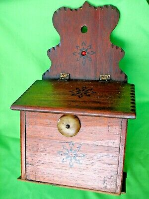 Old antique Victorian hand carved decorated wall hanging Oak Salt Box Candle Box