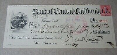 Old 1898 Bank of Central California - BANK CHECK - Revenue Stamp - FRESNO CA.