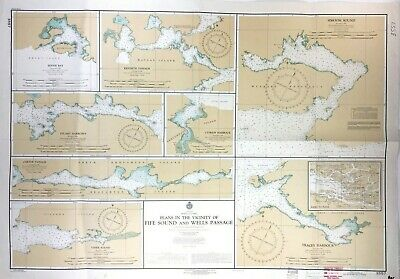 Vintage SIMOOM SOUND QUEEN CHARLOTTE STRAIT Nautical Chart BRITISH COLUMBIA Map