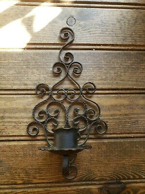"8.5"" Antique Wrought Iron SPAIN Gothic Medieval Wall Sconce Candle Holder Ornate"