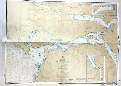Vintage QUATSINO SOUND VANCOUVER ISLAND Nautical Chart PORT ALICE Canada BC MAP