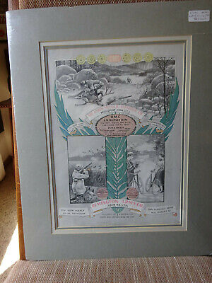 """Circa 1910 Remington Umc Hunting Poster 11""""X16"""" Triple Matted Ready To Be Frame"""