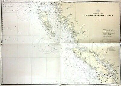 Vtg 1937 PACIFIC NORTHWEST Coastal VANCOUVER ISLAND Nautical Chart Canada BC MAP
