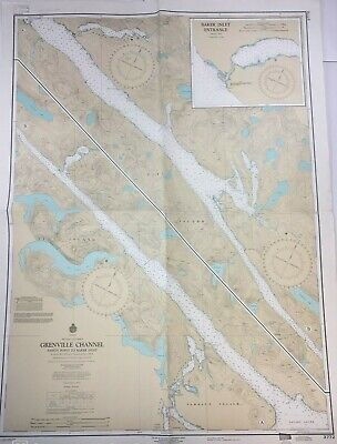 Vtg INSIDE PASSAGE Grenville Channel BRITISH COLUMBIA Nautical Chart Canada MAP