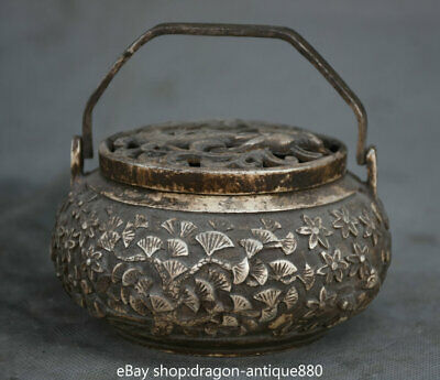 "4"" Marked Old China Ming Silver Dragon House Flower Pine Portable Incense Burner"