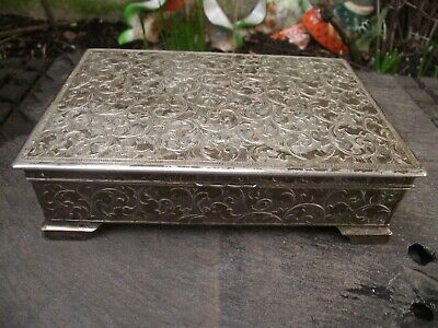 Vintage White Metal Box Embossed Acanthus Leaf Scrolls ( Silver Plated ?)