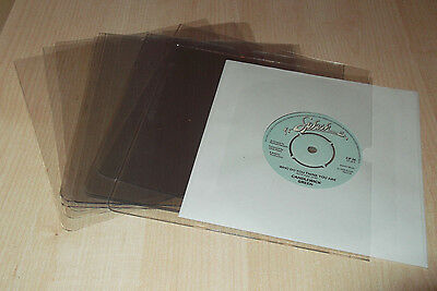 """100 x 7"""" pvc Record Sleeves/Covers Glass Clear  140 MICRON GUARANTEED THICKNESS"""