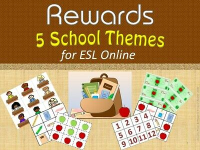 Rewards ~ 5 School Themes for ESL Online, Small Groups, & Homeschool (pdf file)
