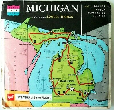 3x VIEW MASTER REEL ⭐️ MICHIGAN ⭐ STATE TOUR SERIES ⭐ The WOLVERINE / 3D / A580
