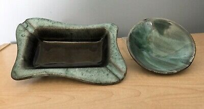 Lot of  Vintage Evangeline Canadian Art Pottery Pieces Ashtray & Bowl GUC