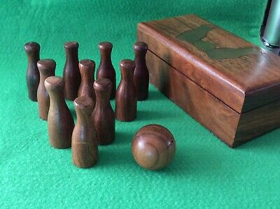 """Vintage ~ Miniature """"TEN PIN BOWLING"""" Set, in a Nice Quality Box."""