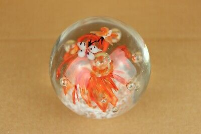 Vintage Hand Blown Art Glass Orange Swirl w/ Butterfly Round Orb Paperweight
