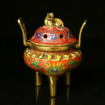 Chinese Exquisite Brass Cloisonne Enamel Handmade Beast Incense Burners 60002
