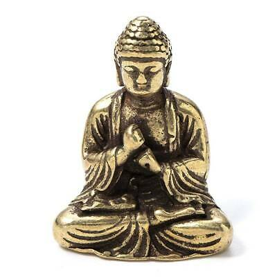 Chinese Antiques OLD pure brass hand carved sakyamuni Buddha small mini statue @