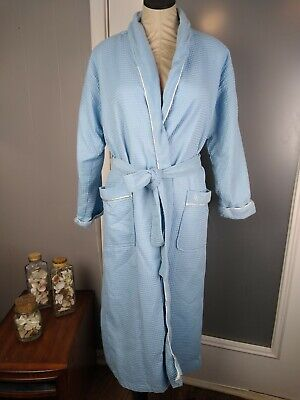 Liz Claiborne Woman's Robe Small Blue Quilted LC Logo Very Nice