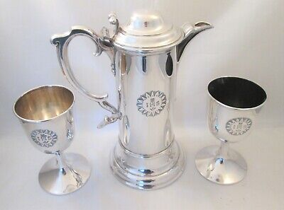A Fine 19thC Silver Plated Communion Jug & 2 Goblets - Walker & Hall