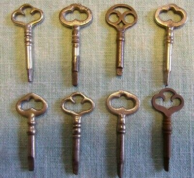 Vintage Lot of 8 Sewing Machine Piano Cabinet Drawer Keys 3 Sided