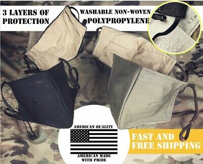 Quality Military Face Mask Washable, Reusable Filter, Uniform 100% Cotton Army