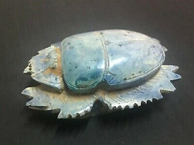 Rare ancient egyptian antique large glazed faience scarab 1550-1069 bc