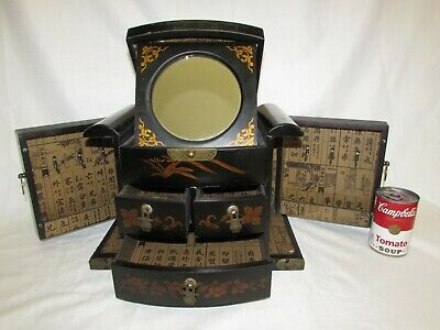 Antique Chinese Mirror Box - Asian Jewelry Case - Cabinet - Vintage