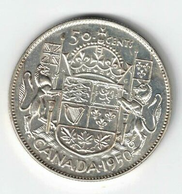 Canada 1950 No Design 50 Cents Half Dollar King George Vi Canadian Silver Coin