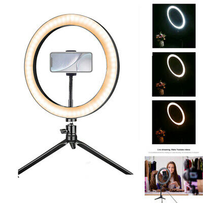 Dimmable Studio LED Ring Light With Phone Holder Video Camera Lamp Tripod Stand