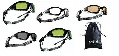 Bolle Tracker II Safety Glasses Goggles Anti Mist Scratch Case Bag Head Strap