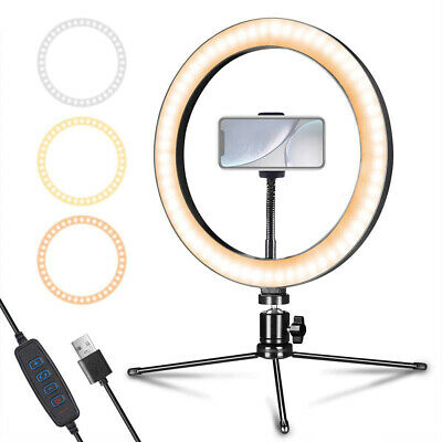 Studio LED Ring Light w/ Tripod Stand Dimmable Photo Video Lamp Kit For Phone
