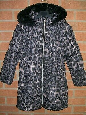 BLUEZOO Girls Black Grey Animal Print Winter Coat Hooded Jacket Age 7-8 128cm