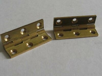 "Pair vintage quality solid brass butt hinges  1 1//4/"" x 3//4/""  jewellery boxes"