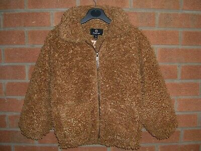 FIRETRAP Girls Brown Teddy Fleece Bomber Jacket Age 7-8 128cm
