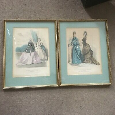 2 x antique mid Victorian The Young Englishwoman French Fashions Beeton prints