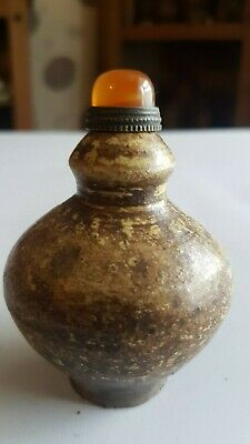 CHINESE STONEWARE SALTGLAZED SNUFF BOTTLE in mint condition WITH INTERNAL SPOON