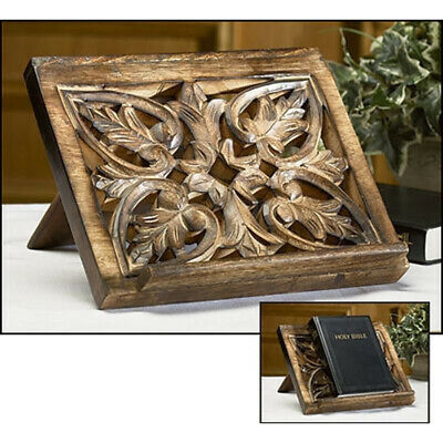 Autom 10 Inch Ornately Carved Wooden Tabletop Bible Stand Holder N.G.