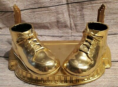 """Vintage Bronze/ Gold Mounted Baby Shoes and Ornate 8"""" x 10"""" Frame Mother"""