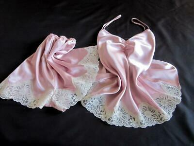 Womens Cami Pyjamas French Knickers Set L Short PJs Pink Satin Camisole Panties