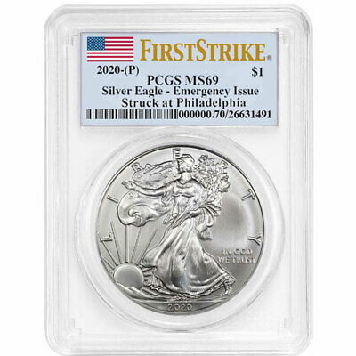 2020 (P) $1 American Silver Eagle PCGS MS69 Emergency Production FS Flag Label