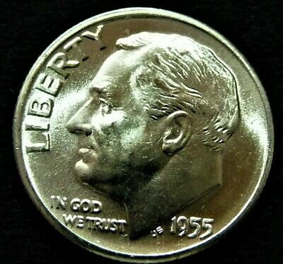 1955 D Silver Roosevelt Dime BU from OBW Roll