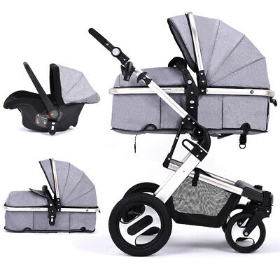 3 in 1 Foldable Luxury Baby Stroller Pram with Portable Basket Safety Anti-Shock