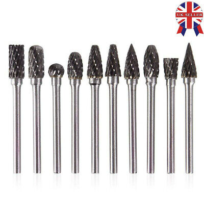 10pcs Tungsten Steel Solid Carbide Burrs For Dremel Rotary Tool Set Drill Bit